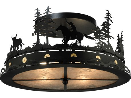 Meyda Tiffany Cowboy & Steer Four-Light Semi-Flush Mount Light MY136277