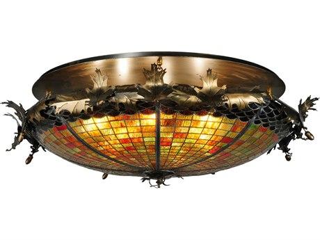 Meyda Tiffany Greenbriar Oak Six-Light Semi-Flush Mount Light MY137264