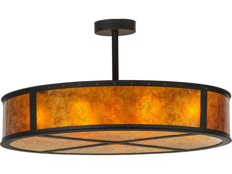 Meyda Tiffany Smythe Craftsman Amber Mica Eight-Light Semi-Flush Mount Light MY142268