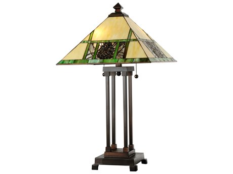 Meyda Tiffany Pinecone Ridge Beige Table Lamp MY103380