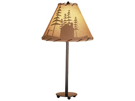 Meyda Tiffany Cabin In The Woods Painted Multi-Color Accent Table Lamp MY48463