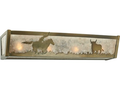 Meyda Tiffany Cowboy & Steer Four-Light Vanity Light MY113548