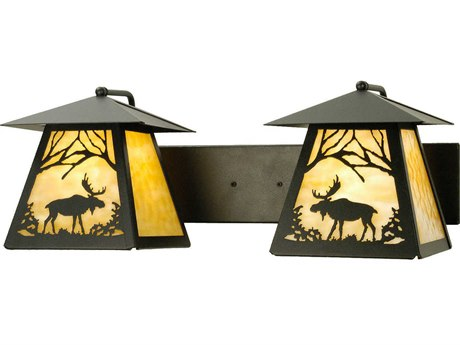 Meyda Tiffany Moose At Dawn Two-Light Outdoor Wall Light