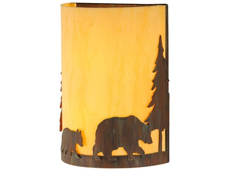 Meyda Tiffany Pine Tree & Bear Two-Light Outdoor Wall Light