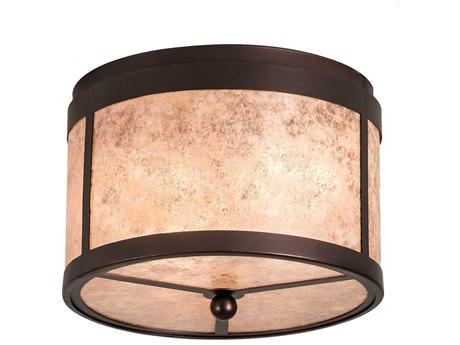 Meyda Smythe Craftsman Mahogany Bronze 2-light 12'' Wide Flush Mount Light