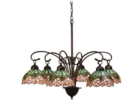 Meyda Tiffany Cabbage Rose Six-Light 31 Wide Chandelier MY18713