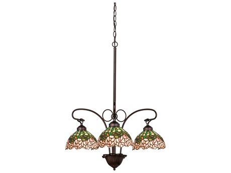 Meyda Tiffany Cabbage Rose Three-Light 24 Wide Grand Chandelier MY19895