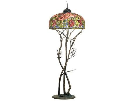 Meyda Tiffany Oriental Poppy Brown Three-Light Floor Lamp