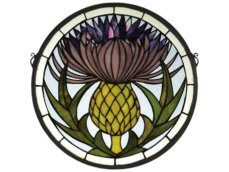 Meyda Tiffany Thistle Medallion Stained Glass Window MY28436