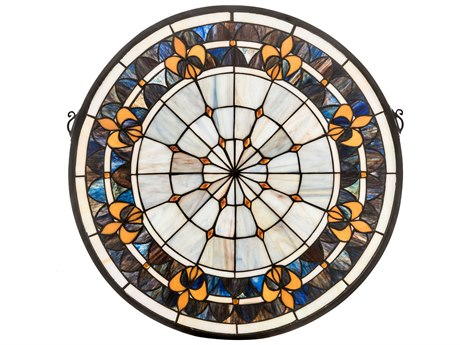 Meyda Tiffany Fleur-De-Lis Medallion Stained Glass Window MY49840