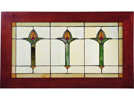 Meyda Tiffany Arts & Crafts Bud Trio Wood Frame Stained Glass Window MY97961