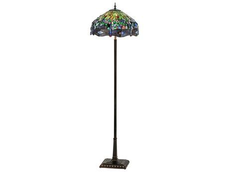 Meyda Tiffany Hanginghead Dragonfly Mahogany Bronze 4-light Glass Floor Lamp MY151154