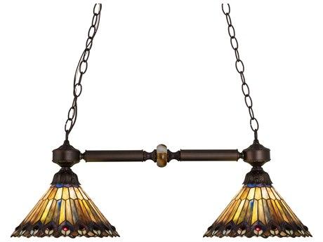 Meyda Tiffany Jeweled Peacock Two-Light Island Light MY27411
