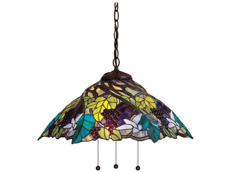 Meyda Tiffany Spiral Grape Three-Light Pendant Light