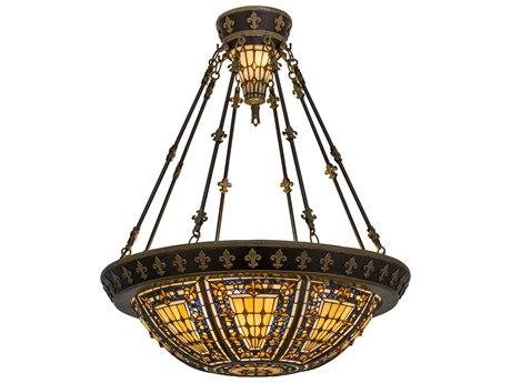Meyda Tiffany Fleur-De-Lis Six-Light Semi-Flush Mount Light MY115300
