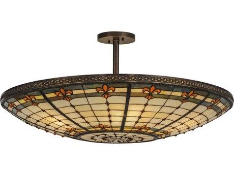 Meyda Tiffany Fleur-De-Lis Six-Light Semi-Flush Mount Light MY144204