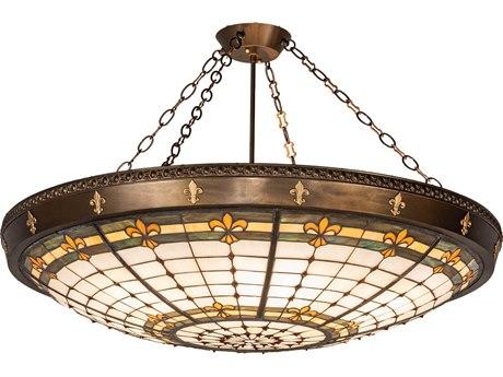 Meyda Tiffany Fleur-De-Lis Six-Light Semi-Flush Mount Light MY145707