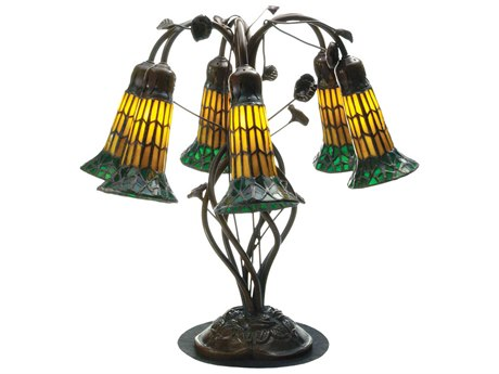 Meyda Tiffany Pond Lily Amber & Green Table Lamp