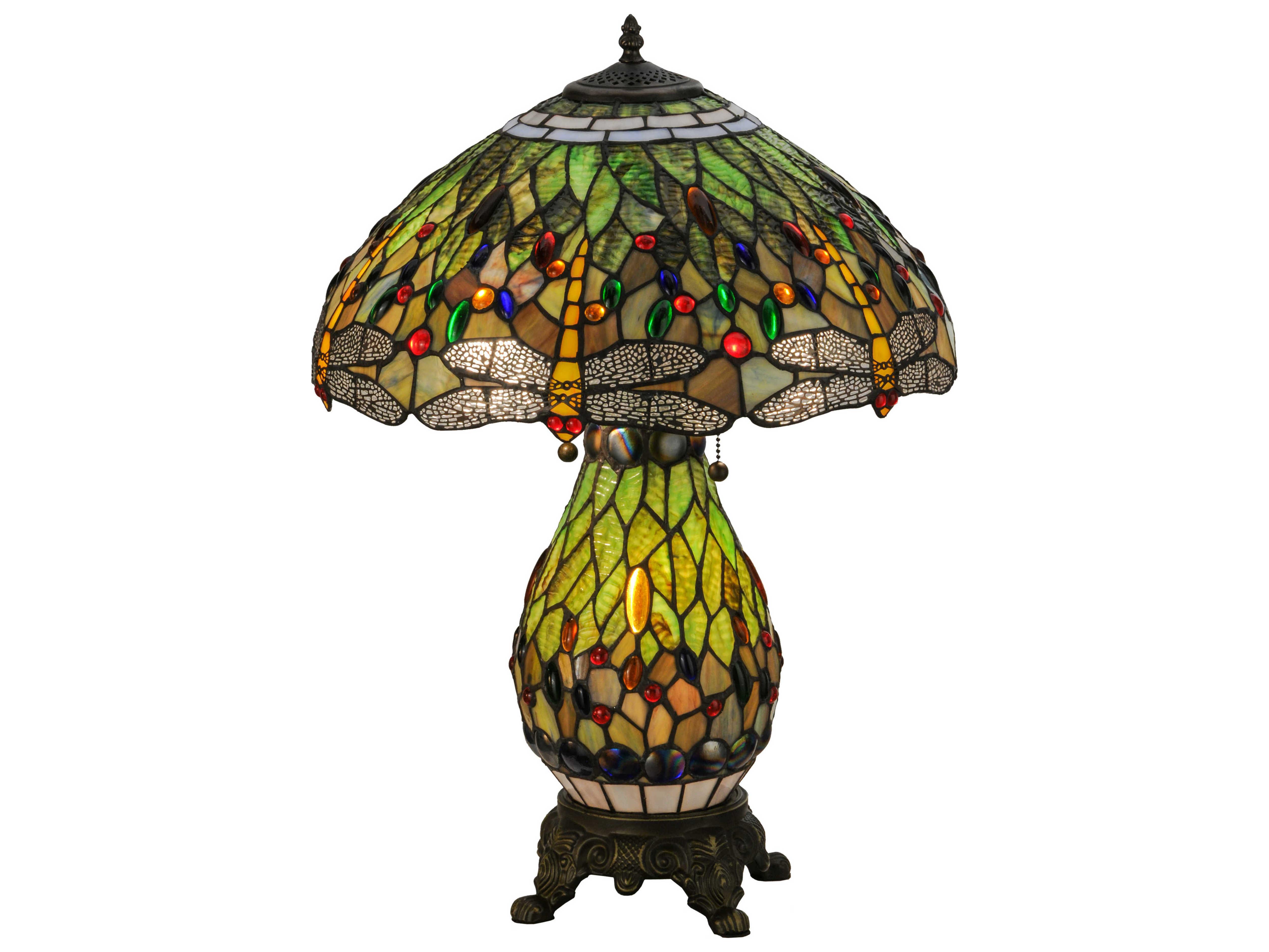Meyda Tiffany Hanginghead Dragonfly Lighted Base Multi