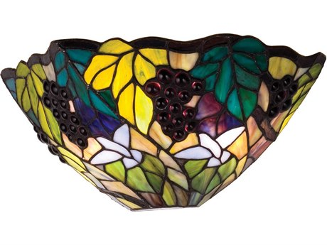 Meyda Tiffany Spiral Grape Two-Light Wall Sconce