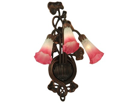 Meyda Tiffany Pink & White Pond Lily Three-Light Wall Sconce MY11318