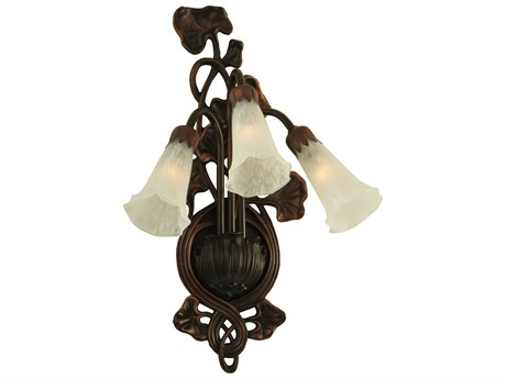 Meyda Tiffany White Pond Lily Three-Light Wall Sconce MY11846