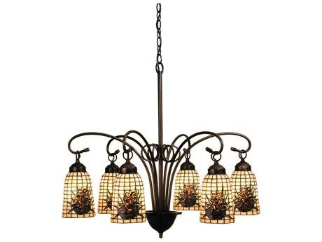 Meyda Tiffany Pine Barons Six-Light 27 Wide Chandelier MY18669