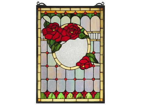 Meyda Tiffany Morgan Rose Stained Glass Window