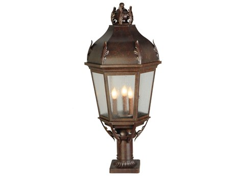 Meyda Tiffany Royan Lantern Three-Light Outdoor Pier Mount Light