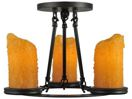 Meyda Tiffany Carpathian Three-Light Semi-Flush Mount Light MY110508