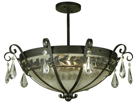 Meyda Tiffany Florentine with Crystals Three-Light Semi-Flush Mount Light