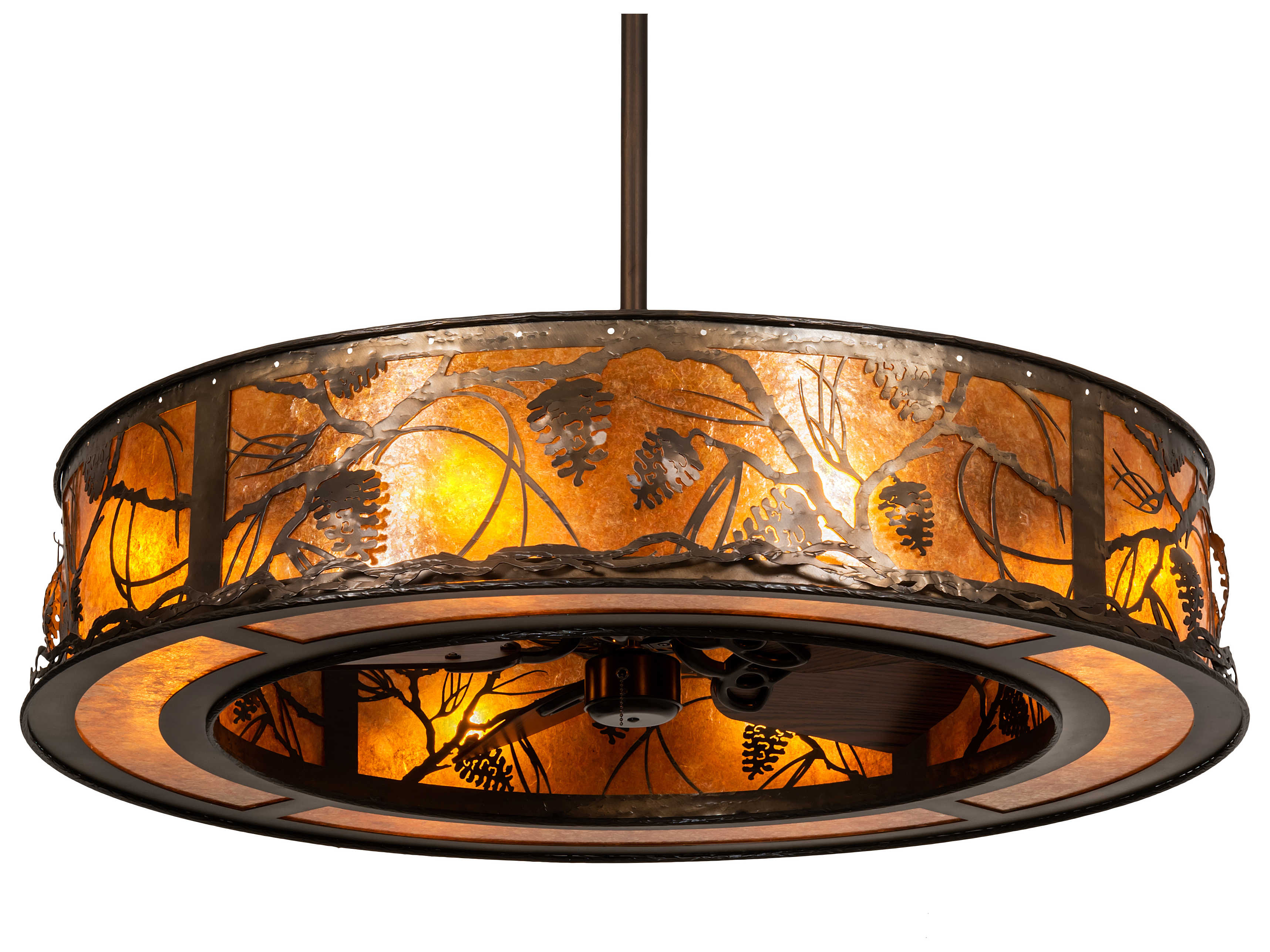 Meyda Whispering Pines Antique Copper 8 Light 45 Wide Indoor Outdoor Ceiling Fan My228668