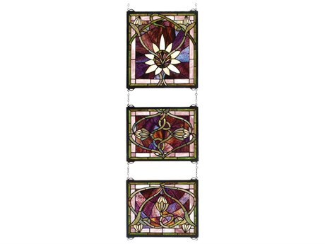 Meyda Tiffany Solstice 3 Piece Stained Glass Window MY24411