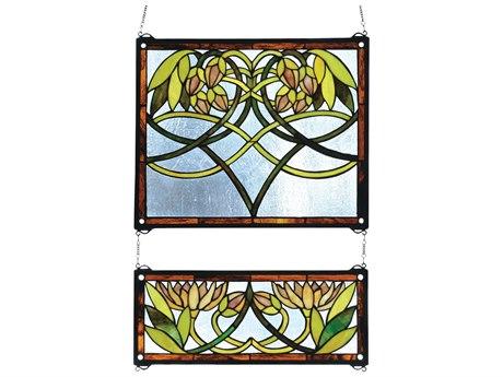 Meyda Tiffany Waterlily  Stained Glass Window (2 Pieces)