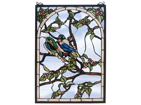 Meyda Tiffany Lovebirds Stained Glass Window