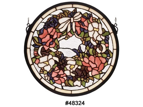 Meyda Tiffany Wreath & Garland Medallion Stained Glass Window