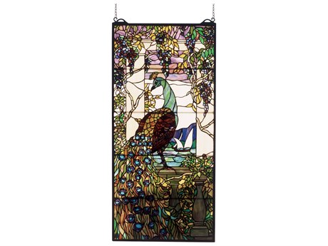 Meyda Tiffany Peacock Wisteria Stained Glass Window MY50562