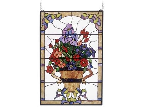 Meyda Tiffany Floral Arrangement Stained Glass Window