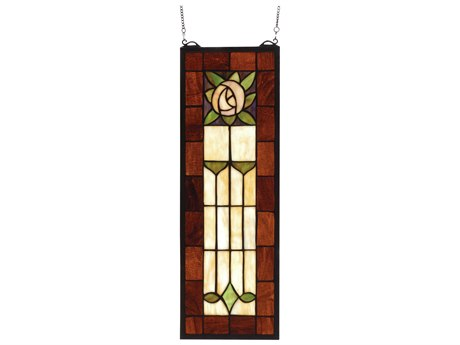 Meyda Tiffany Pasadena Rose Stained Glass Window MY67791