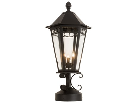 Meyda Yorkshire Black / Clear 3-light Outdoor Post Light