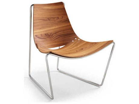 Midj Apelle Walnut with Chrome Accent Lounge Chair