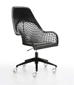 Midj Guapa Black Hide with Chrome Swivel Computer Chair MIDMDGUAPADPAB