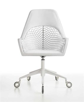 Midj Guapa White Hide with Chrome Swivel Computer Chair MIDMDGUAPADPAW