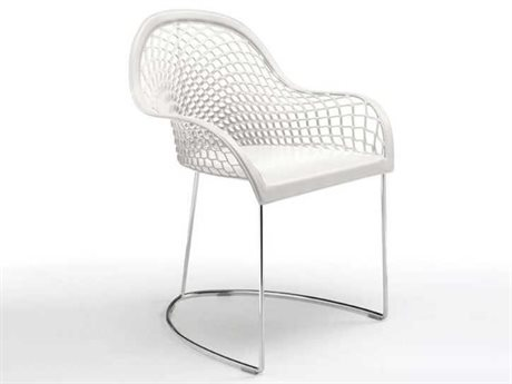 Midj Guapa White Hide with Chrome Dining Arm Chair MIDMDGUAPAPW