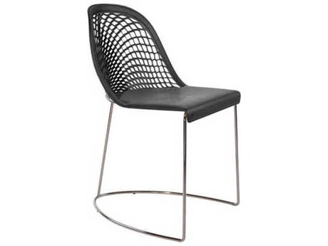 Midj Guapa Black Hide with Chrome Dining Side Chair MIDMDGUAPASN