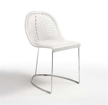 Midj Guapa White Hide with Chrome Dining Side Chair MIDMDGUAPASW