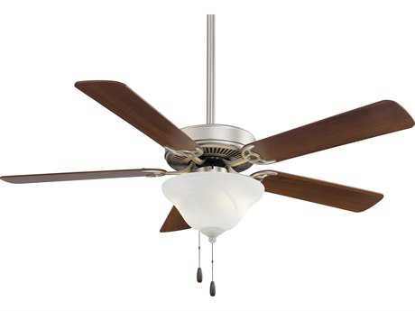 Minka-Aire Contractor Uni-Pack Brushed Steel & Dark Walnut Three-Light 52'' Wide Indoor Ceiling Fan MKAF548BSDW