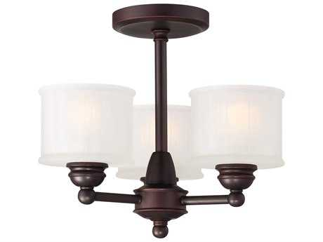 Minka Lavery 1730 Series Lathan Bronze 16'' Wide Glass Semi-Flush Mount MGO1738167