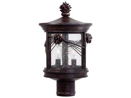 Minka Lavery Abbey Lane Iron Oxide Glass Outdoor Post Light