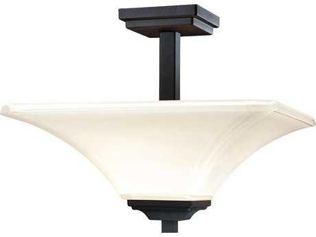 Minka Lavery Agilis Black 15'' Wide Glass Semi-Flush Mount